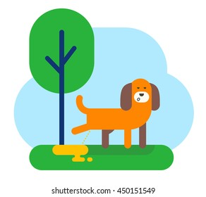 A dog is peeing near a tree. Flat design vector illustration.