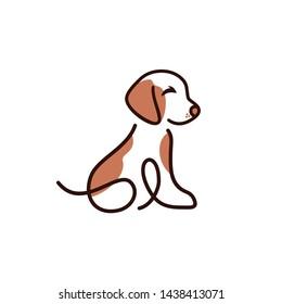 dog pet care outline line art monoline logo vector icon design