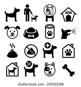 Dog, pet icons set - vet, dog's food, dog hotel