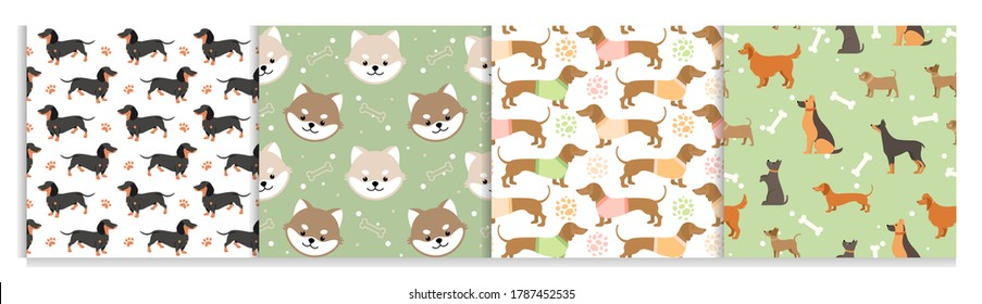 Dog pets seamless pattern vector illustrations. Cartoon cute flat animal background set with black brown doggy or funny puppy face, paw footprint and dog food design for decoration, wrapping paper