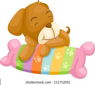 dog with pillow vector Illustraiton