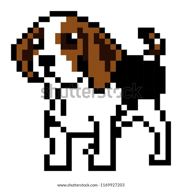 Dog Pixel Art Stock Vector Royalty Free 1169927203