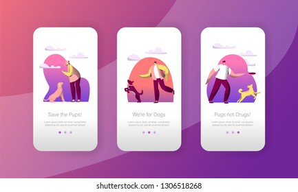 Dog Play Jump with Woman Owner Outdoor Mobile App Page Onboard Screen Set. Happy Pet Walk Outside. Canine Puppy Training Concept for Website or Web Page. Flat Cartoon Vector Illustration