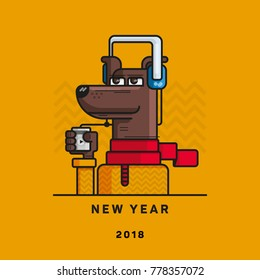 """A dog with a player in the feet and the headphones, the words """"New year 2018"""", the year of the dog."""