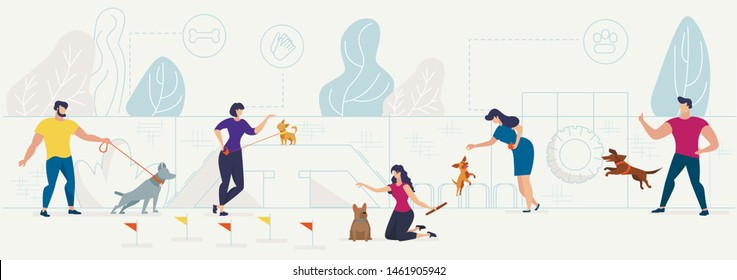 Dog Playground in City Park Flat Vector Concept with Male, Female Pets Owners Playing with Domestic Animals, Training, Teaching Dogs Tricks on Equipment for Animals Activities Playground Illustration