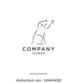 dog playing giving love vector logo design templatw. eps10