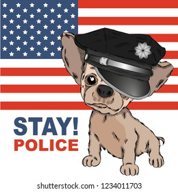 A dog in a police cap. Dog on the background of the American flag. Vector illustration