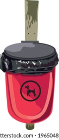 Dog poo bin, red, isolated, as used in the UK, vector illustration