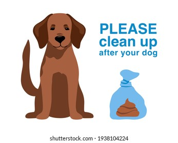 Dog poop in plastic bag isolated on background. Warning pick up excrement, feces, shit outdoors. Care of environment and save nature park. Street banner, flyer, information sign. Vector illustration.
