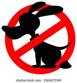 Dog Poop Warning - A vector cartoon illustration of a Dog Poop Warning sign.