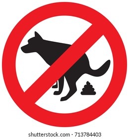 Dog Pooping Icon Vector Illustration. Pet Poop Forbidden Sign