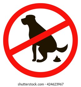 dog pooping No sign black silhouette on white background