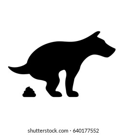 Dog pooping vector eps silhouette icon isolated on white background