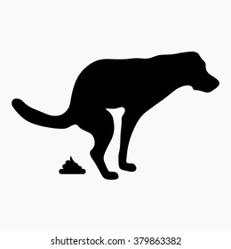 dog pooping vector icon
