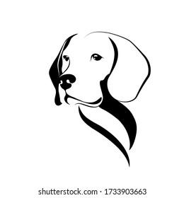 Dog portrait. Beagle dog head black sketch isolated on white background. Vector illustration