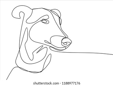 Dog portrait. Continuous line
