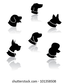 Dog Portrait Silhouette Icon Symbol Set EPS 8 vector, grouped for easy editing. No open shapes or paths.