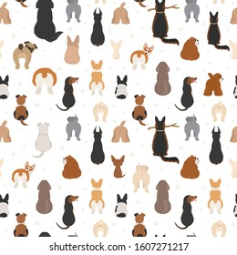 Dog poses behind. Dog`s butts. Flat design seamless pattern. Vector illustration