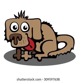 Dog. The primitive pattern. Caricature. Cartoon.