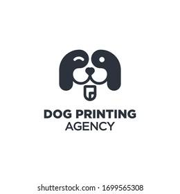 Dog Printing Design Logo For Business Company Brand Agency