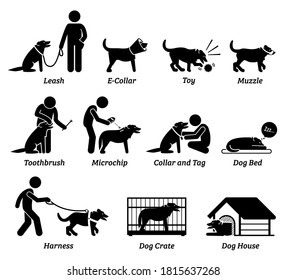 Dog product equipment and tools icons set. Vector illustrations and pictogram of dog leash, collar, toy, muzzle, toothbrush, microchip scanner, bed, harness, crate, and house.