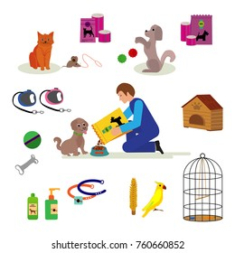 Dog products and accessories for pet . toys, food, collars, combs for pets.Teenage boy giving food to his puppy, dog, cartoon vector illustration on white background.