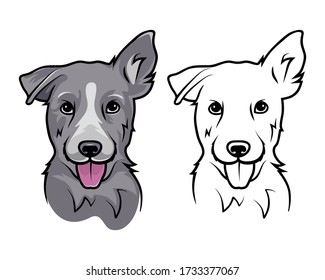 A dog with a protruding tongue. Dog on a white background.