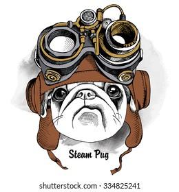 Dog Pug portrait in the Steampunk helmet. Vector illustration.