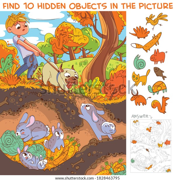 Dog pulls leash with its owner. Dog digs a rabbit hole. View hare house underground. Find 10 hidden objects in the picture. Puzzle Hidden Items. Funny cartoon character
