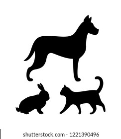 Dog puppy, cat and bunny colorless silhouettes isolated icons vector. Hound wagging tail and kitten, rabbit with long ears. Pets and domestic animals