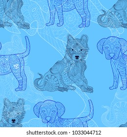 Dog, puppy doodle seamless pattern. Outline color texture. Repeating tile, artwork for print, template, decorative piece, page. Isolated vector illustration. Husky ornament background and zen tangle