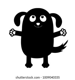 Dog puppy face black silhouette holding hands up. Pet collection. Pooch, paw print hug. Flat design. Cute cartoon funny character. White background. Isolated. Vector illustration
