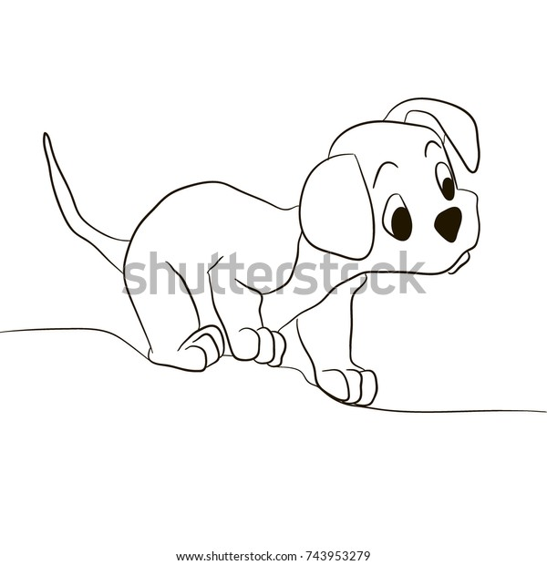 Dog Puppy Looking Forward Animals Coloring Stock Vector