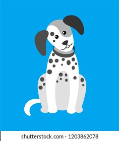 Dog puppy with spots, canine wearing collar on neck vector. Animal pet dog creature, purebred pedigree muzzle. Hound domesticated canis in clinic