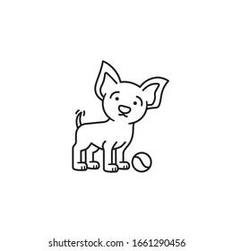 Hundewelpen mit Tennisball, der die Vektorillustration des Schwanzes zieht. Symbol für die Umrisslinie des Tieres.