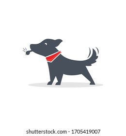 dog put on a whistle  training logo design vector