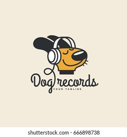 Dog records logo template design. Vector illustration.