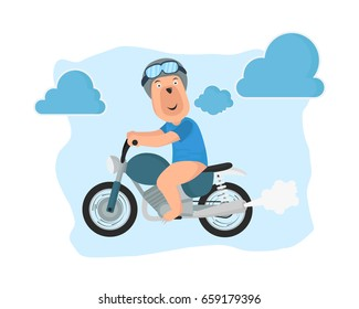 a dog riding motorcycle cartoon vector illustration