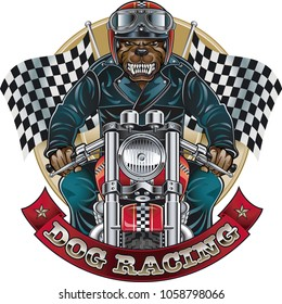 dog riding motorcycle with checkered flags and banner