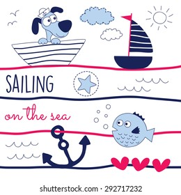 dog sailing on the sea vector illustration