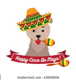 Dog in sambrero holding maracas with mouth. Cinco de Mayo day funny background. Vector flat illustration
