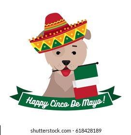 Dog in sambrero holding mexican flag with mouth. Cinco de Mayo day funny background. Vector flat illustration