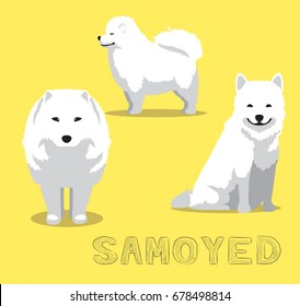 Dog Samoyed Cartoon Vector Illustration