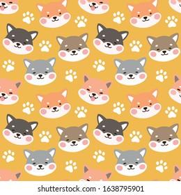 Dog Seamless Pattern Background, Happy shiba inu with dog paw and bone, Cartoon Shiba Dog Vector illustration, scandinavian wallpaper background
