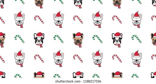 Dog seamless pattern Christmas vector french bulldog Santa Claus Xmas hat candy cane scarf cartoon illustration isolated tile background repeat wallpaper
