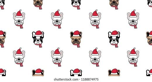 Dog seamless pattern Christmas vector french bulldog Santa Claus Xmas hat scarf cartoon illustration isolated tile background repeat wallpaper
