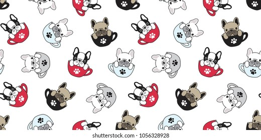 Dog seamless pattern french bulldog pug isolated cup paw puppy wallpaper background