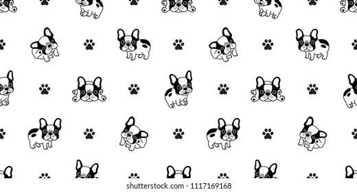 Dog seamless pattern french bulldog paw vector repeat background tile cartoon wallpaper isolated black
