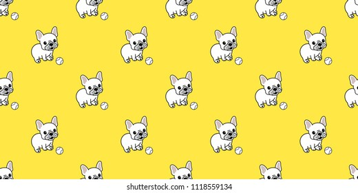 Dog seamless pattern french bulldog baseball vector repeat background tile cartoon wallpaper isolated yellow