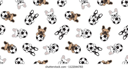 dog seamless pattern french bulldog soccer vector football repeat background tile cartoon wallpaper isolated